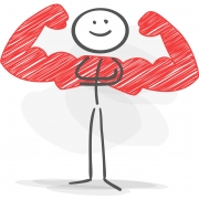 stickman muscle strong red